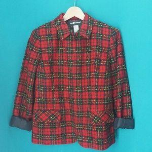 Vintage Sag Harbor Womens Red Plaid Blazer Jacket